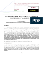 Establishing Risk Management Factors for Construction Projects in Iraq