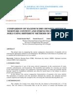 Comparison of Maximum Dry Density, Optimum Moisture Content and Strength of Granular Soils Using Different Methods of Compaction