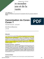 209761195 Anne Sylvie Boisliveau Canonisation Du Coran Par Le Coran