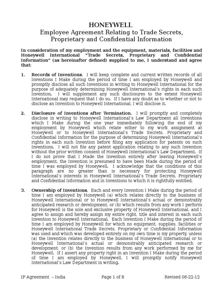Ip Agreement 1cx Trade Secret Patent