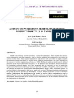 A Study on Patients Care Quality in Public District Hospitals in Tamilnadu