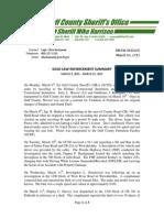 GCSO LAW ENFORCEMENT SUMMARY  MARCH 9, 2015 – MARCH 15, 2015