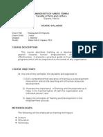 Training and Development - Syllabus