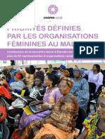 Priorités définies par les organisations féminines au Mali