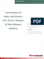 Microfinance in India and Porters Five Forces Analysis