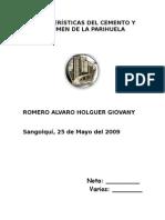 Características Del Cemento y Volumen de La Parihuela