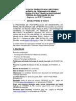 Mestrado UFRGS edital