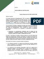 Comunicación Sobre Resolución 0001 Del 8 de Enero de 2015