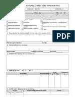 GD-F01 Acciones Correctivas y Preventivas Versión 0