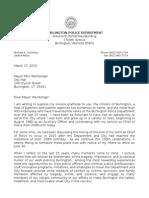 Burlington Police Chief Schirling Retirement Letter