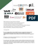 Preocupación por seguridad de integrantes de Centro Tlachinollan, y familiares y amigos de los 43 estudiantes desaparecidos en Ayotzinapa.