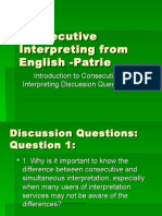 Intro to Consecutive Interpreting Discussion PPT