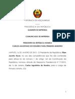 Primeiro Ministro Carlos Agostinho Do Rosari