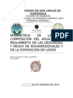 Parámetros de La Composición Del Agua Según Reglamento de Las Descargas y Reuso de Aguasresiduales y de La Disposición de Lodos