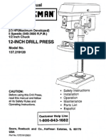 "Craftsman 12"" Drill Press Manual"