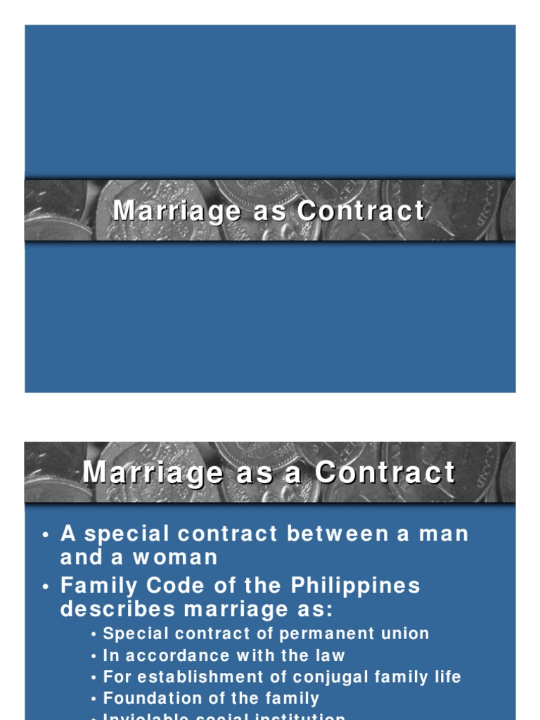 7  Marriage as Contract pdf | Wife | Marriage