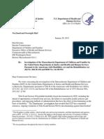 HHS DOJ Mass DCF Letter Sara Gordon Ada Inevtigation Jan 2015