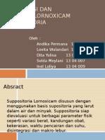 Formulasi Dan Evaluasi Lornoxicam Suppositoria
