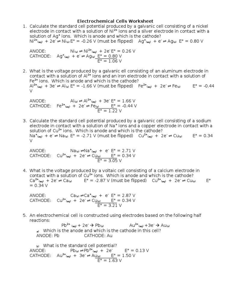 Worksheets Electrochemistry Worksheet electrochemical cells worksheet answers electrochemistry anode