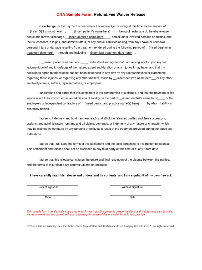 Refund fee waiver release template indemnity civil law legal refund fee waiver release template indemnity civil law legal system altavistaventures Image collections