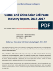 Solar Cell Paste Industry Analysis 2015 For Global and China
