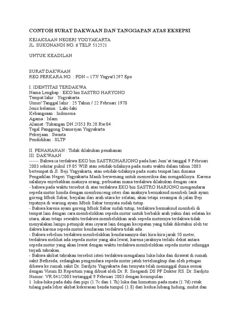 Contoh Surat Dakwaan Dan Tanggapan Atas Eksepsi