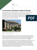 Universitatile Romanesti Codase in Europa