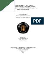 Studi Optimasi Pola Tata Tanam Untuk Memaksimalkan Keuntungan Hasil Produksi Pertanian Di Daerah Irigasi Parsanga Kabupaten Sumenep Fathor Rosiadi 0710643017
