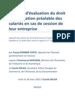 Rapport d'évaluation du droit d'information préalable des salariés en cas de cession de leur entreprise