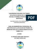 """""""Nivel de Desempeño Del Profesional de Obstetricia en La Aplicación de Pruebas de Bienestar Fetal en Las Micro Redes de Salud Tumbes 2014"""" - Copia"""