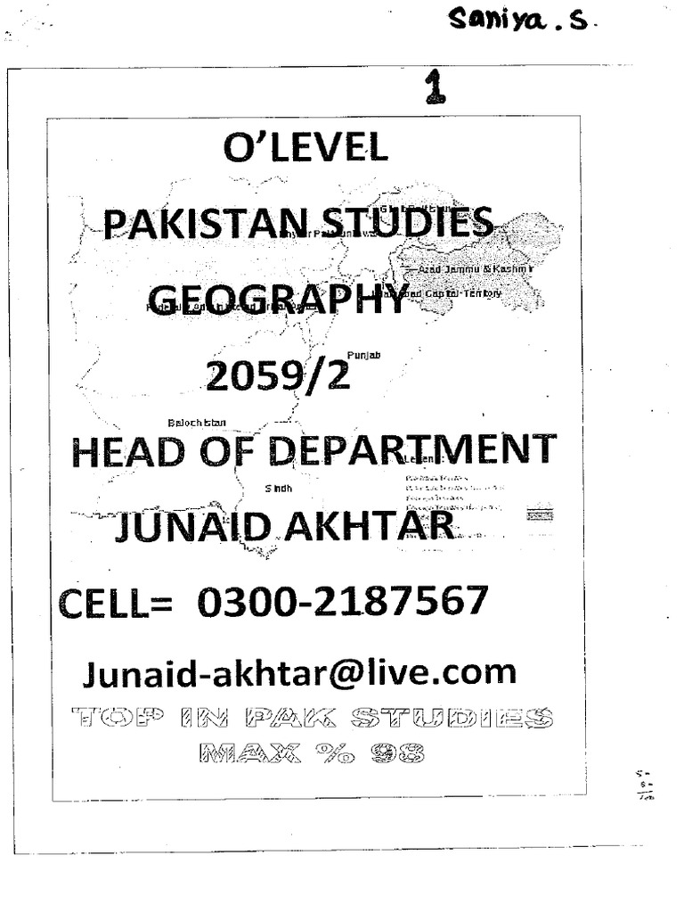 geography of pakistan notes pdf
