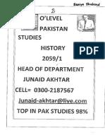 Pakistan Studies(Junaid Akhtar) Section 2- HISTORY