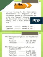 RA 9184 Presentation (ONOFS) 7-30-14