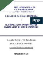3ª Circular. Congreso, coloquio y jornadas (Córdoba, Argentina, 2015)