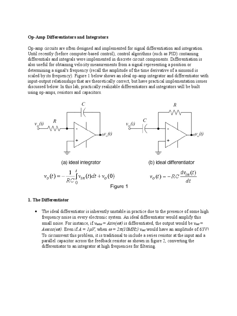 differentiator and Integrator   Operational Amplifier