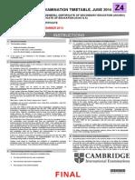 Cambridge Final Examination Timetable June 2014