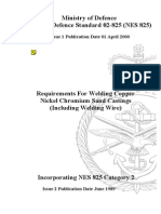 NES 825 Requirements for Welding Copper Nickel Chromium Sand Castings (Including Welding Wire) Category 2