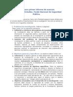 Pauta Primer Informe ESP. FNSP