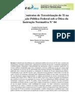 Análise de Contratos de Terceirização de Ti na Administração Pública Federal  sob a Ótica da Instrução Normativa N° 04