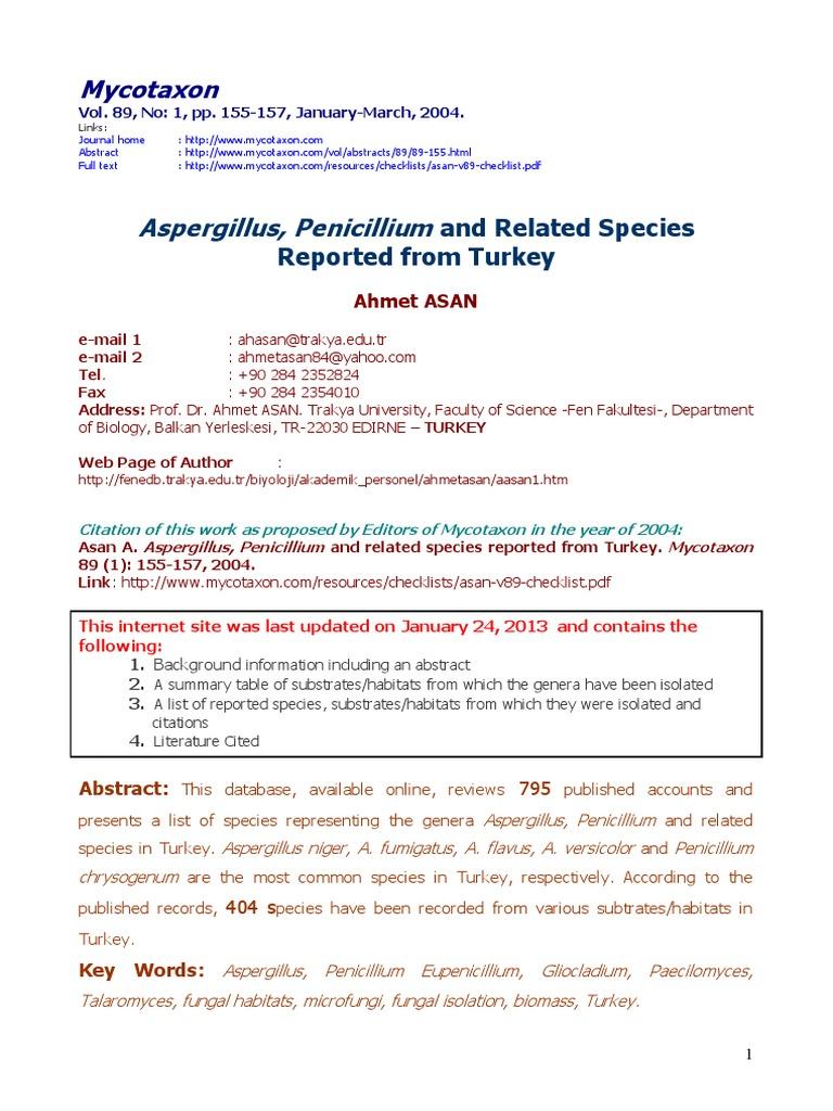 Asan V89 Checklistpdf Aspergillus Lung
