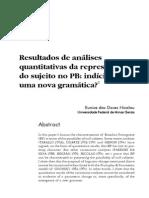 Resultados de análises quantitativas da representação do sujeito no PB