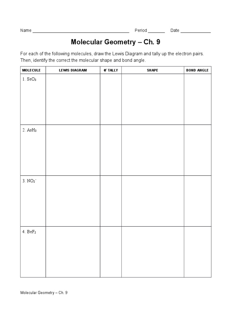 worksheet Molecular Geometry Worksheet With Answers chapter 9 worksheets chemical bond polarity