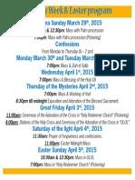 Easter 2015 Schedule