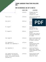 2015 Tentative Pulling Schedule.