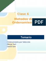 Clase 6 - Algoritmos de Ordenamiento Seleccion + Merge + Quick