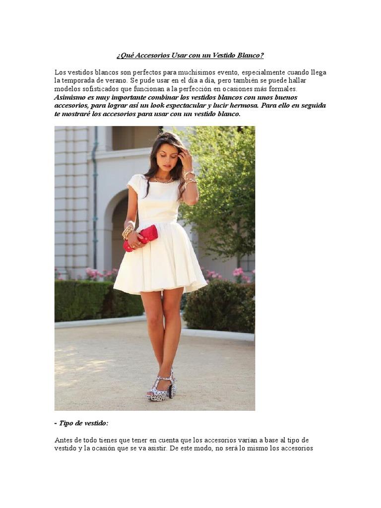 Combinar vestido blanco verano