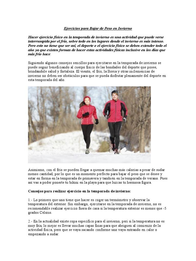 Como bajar de peso en el frio