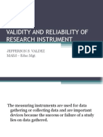 Validity and Reliability of Research Instrument