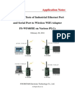 Application Tests of Industrial Ethernet Port and Serial Port to Wireless WiFi Adapter FS-WF485IE on Various PLCs