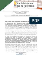 Compte Rendu Du Conseil Des Ministres - Mercredi 18 Mars 2015